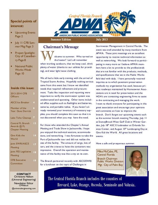 APWA Central FL Branch Summer 2013 Newsletter