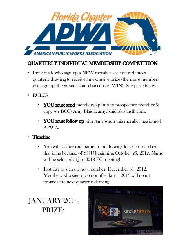 APWA FL Chapter Membership Competition JAN 2013