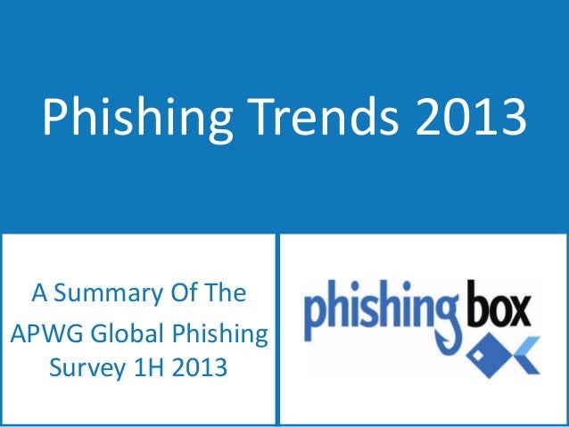 Phishing Trends 2013 A Summary Of The APWG Global Phishing Survey 1H 2013