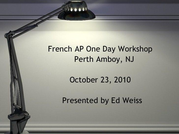 Ap workshop agenda