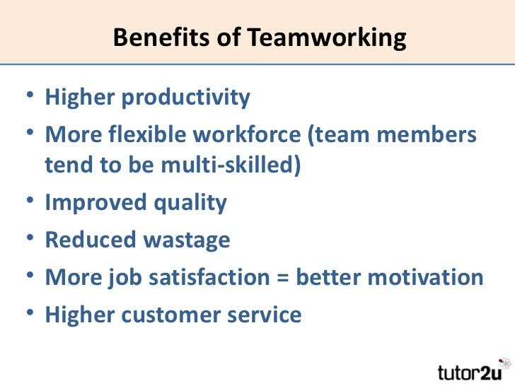 benefits of teamwork essays Teamwork - free management essay - essay uk at the same time, patient care improves with seamless teamwork benefits of teamwork in sports | healthy living - be involved in the process, as there will be a process that sorts out responsibilities and leadership roles (whether official or not.