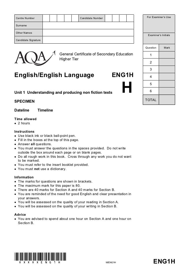 aqa gcse english b coursework mark scheme Find past papers and mark schemes, and specimen papers for new courses, on  our website at aqaorguk/pastpapers this specification is designed to be taken.