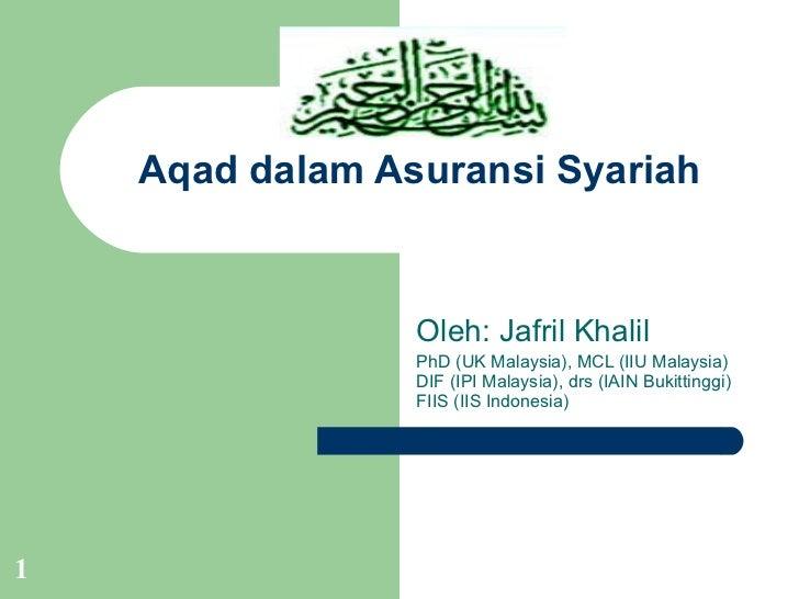 Aqad dalam asuransi syariah