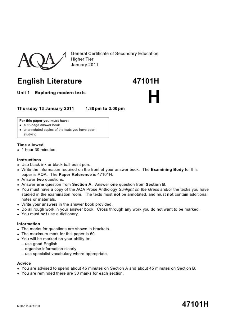 aqa english literature a level past papers