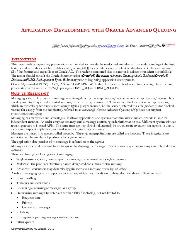 White paper for High Performance Messaging App Dev with Oracle AQ