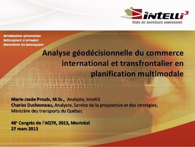 Analyse géodécisionnelle du commerce                    international et transfrontalier en                            pla...