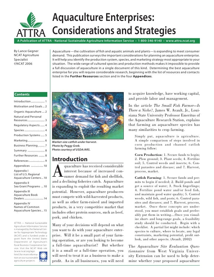 Aquaculture Enterprises:   ATTRA Considerations and Strategies    A Publication of ATTRA - National Sustainable Agricultur...