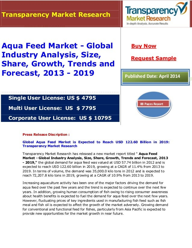 Aqua Feed Market is expected to reach USD 122.60 billion in 2019: Transparency Market Research