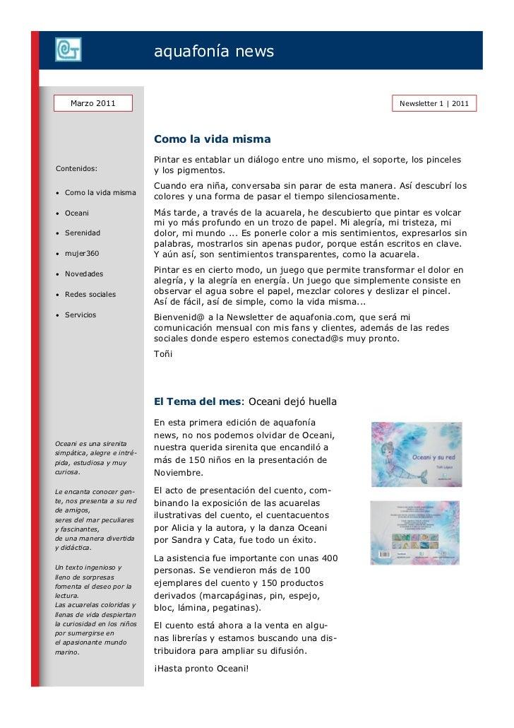 aquafonía news    Marzo 2011                                                                       Newsletter 1   2011    ...
