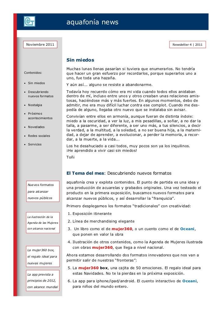 aquafonía news Noviembre 2011                                                                     Newsletter 4   2011     ...