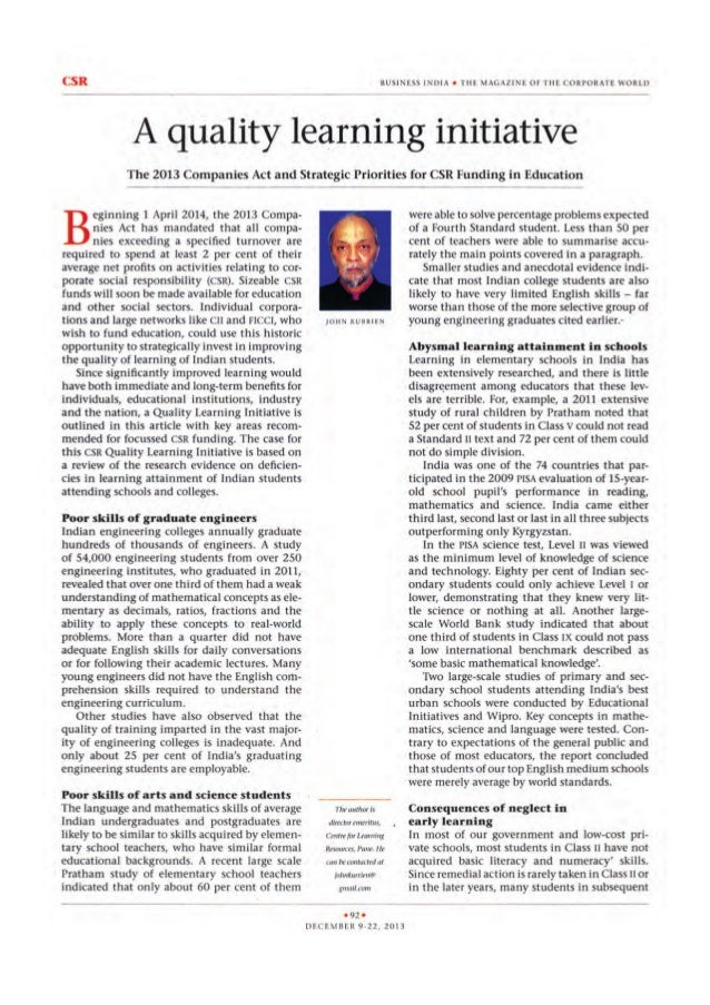A Quality Learning Initiative Article from Extentia Friend and Eminent Professor Dr. John Kurrien