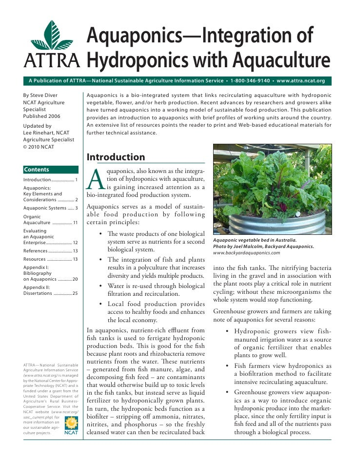 Aquaponics - Integration of Hydroponics with Aquaculture