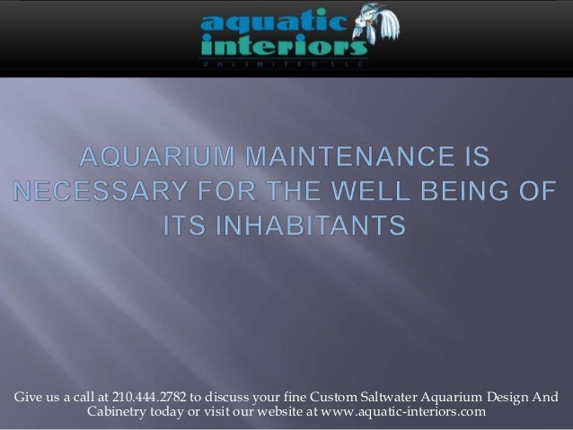 Aquarium maintenance is necessary for the well being of its inhabitants