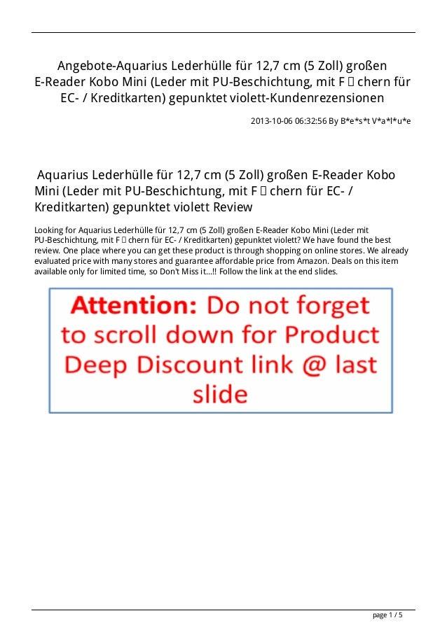 Angebote-Aquarius Lederhülle für 12,7 cm (5 Zoll) großen E-Reader Kobo Mini (Leder mit PU-Beschichtung, mit Fächern für EC...