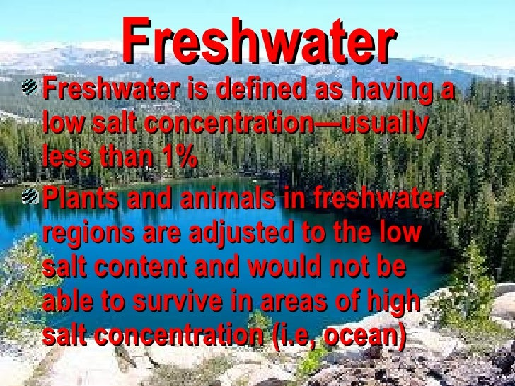 fresh water aquatic ecosystem Water ecosystems – saltwater leave a comment the saltwater, or marine ecosystem has a large salt composition compared to freshwater, and covers nearly half of the earth.