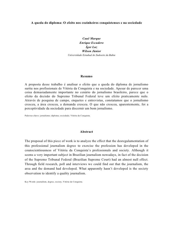 A queda do diploma: O efeito nos cozinheiros conquistenses e na sociedade                                                 ...