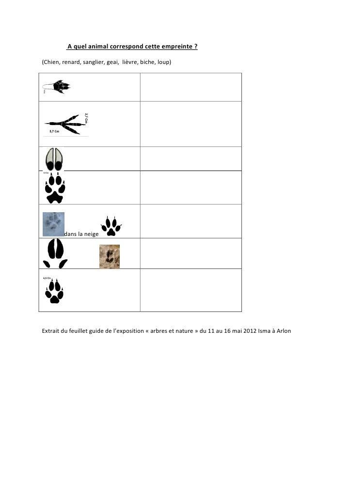 A quel animal correspond cette empreinte ?(Chien, renard, sanglier, geai, lièvre, biche, loup)        dans la neigeExtrait...