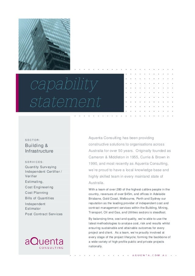 Aquenta Building & Infrastructure Capability Statement