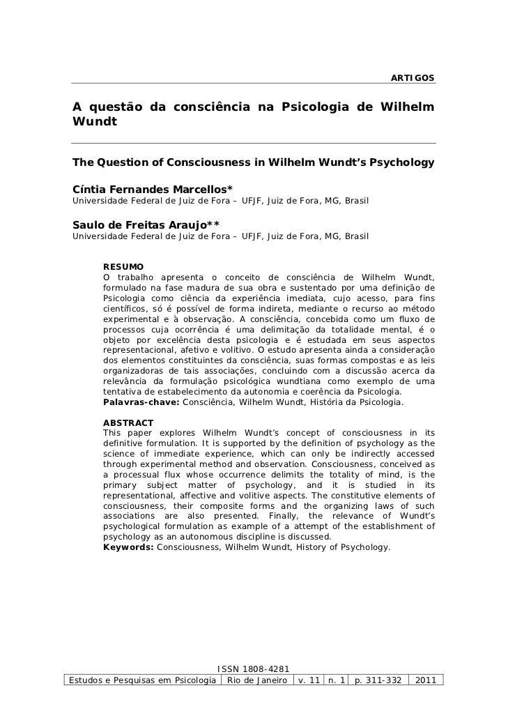 ARTIGOSA questão da consciência na Psicologia de WilhelmWundtThe Question of Consciousness in Wilhelm Wundt's PsychologyCí...