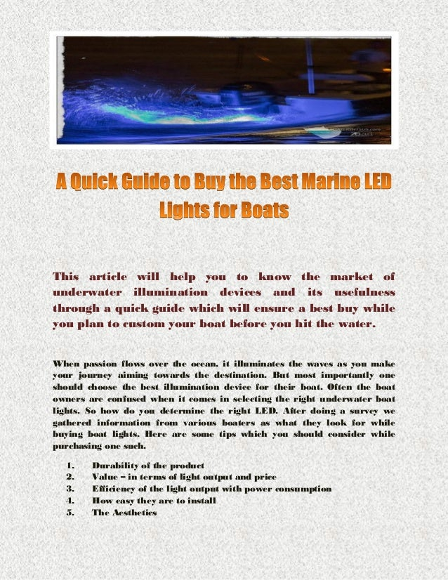 A Quick Guide to Buy the Best Marine LED Lights for Boats