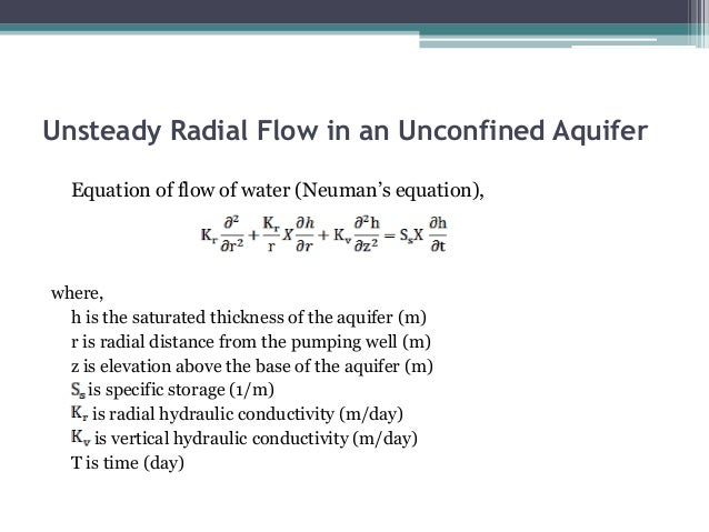 non equilibrium equation for unsteady radial flow