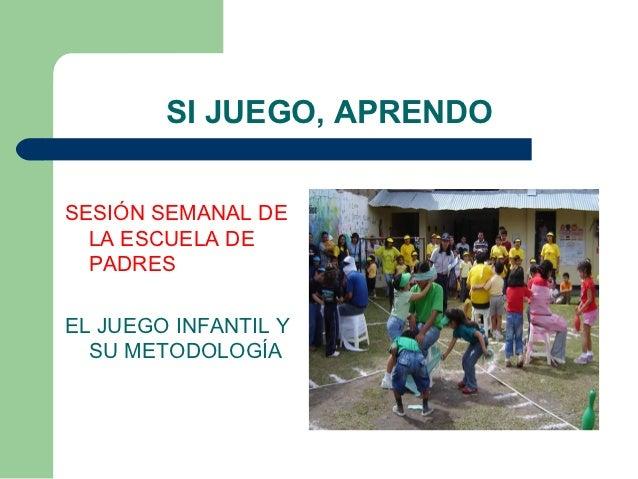 SI JUEGO, APRENDOSESIÓN SEMANAL DE  LA ESCUELA DE  PADRESEL JUEGO INFANTIL Y  SU METODOLOGÍA
