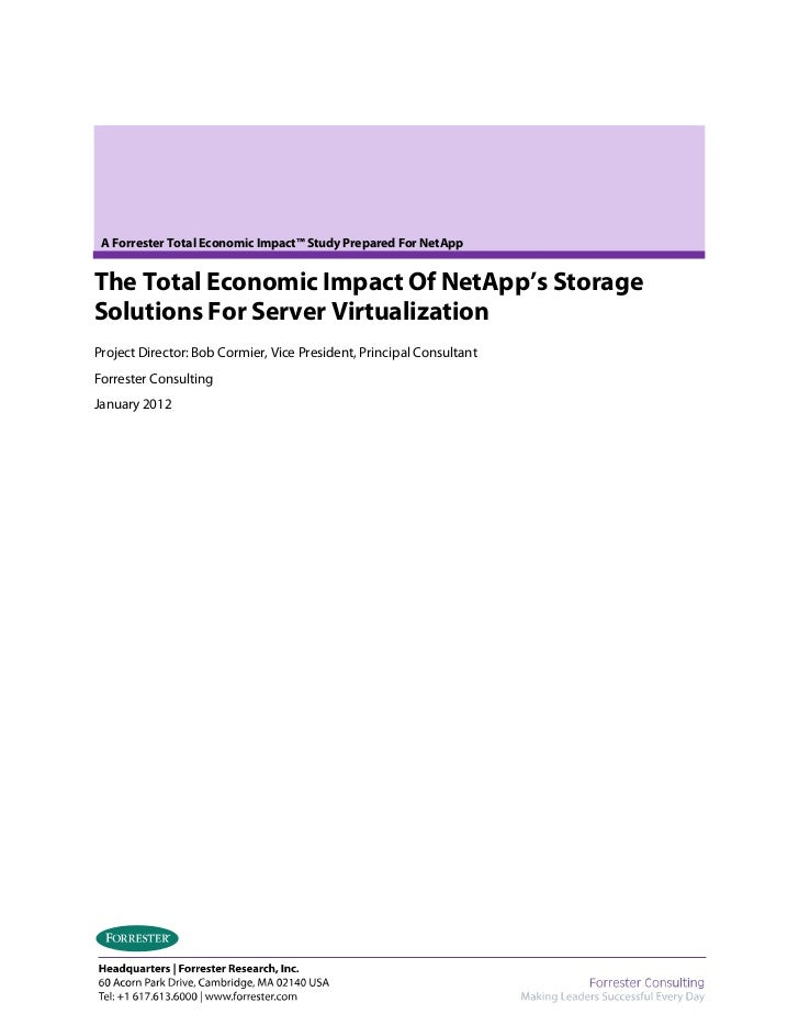 The Total Economic Impact of NetApp's Storage Solutions For Server Virtualization