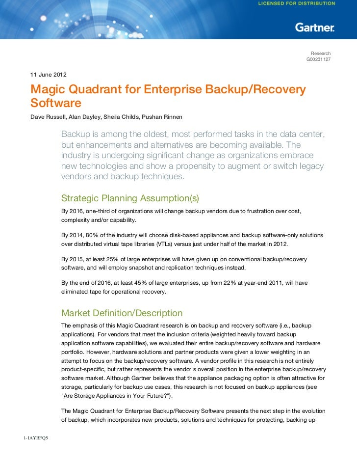 Magic Quadrant For Enterprise Backup/Recovery Software