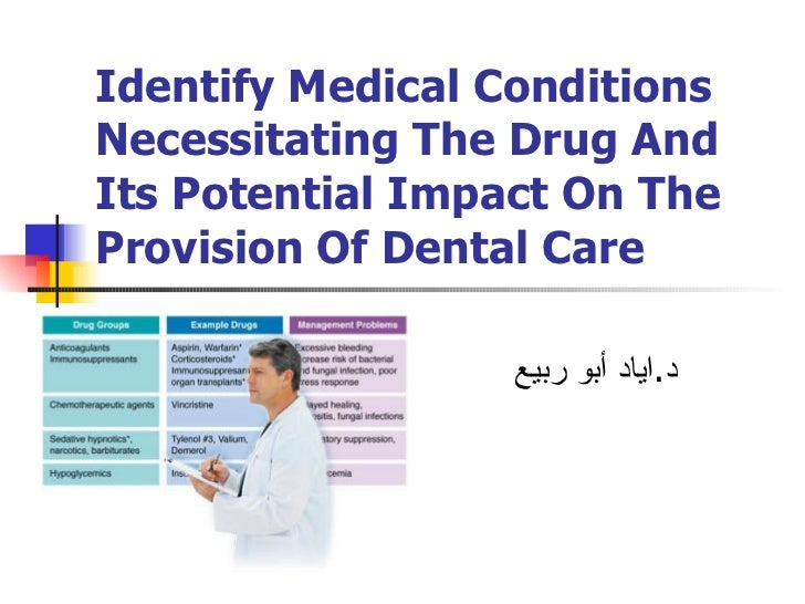 Identify Medical Conditions Necessitating The Drug And Its Potential Impact On The Provision Of Dental Care د . اياد أبو ر...