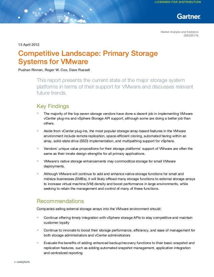 Competitive Landscape: Primary Storage Systems for VMware