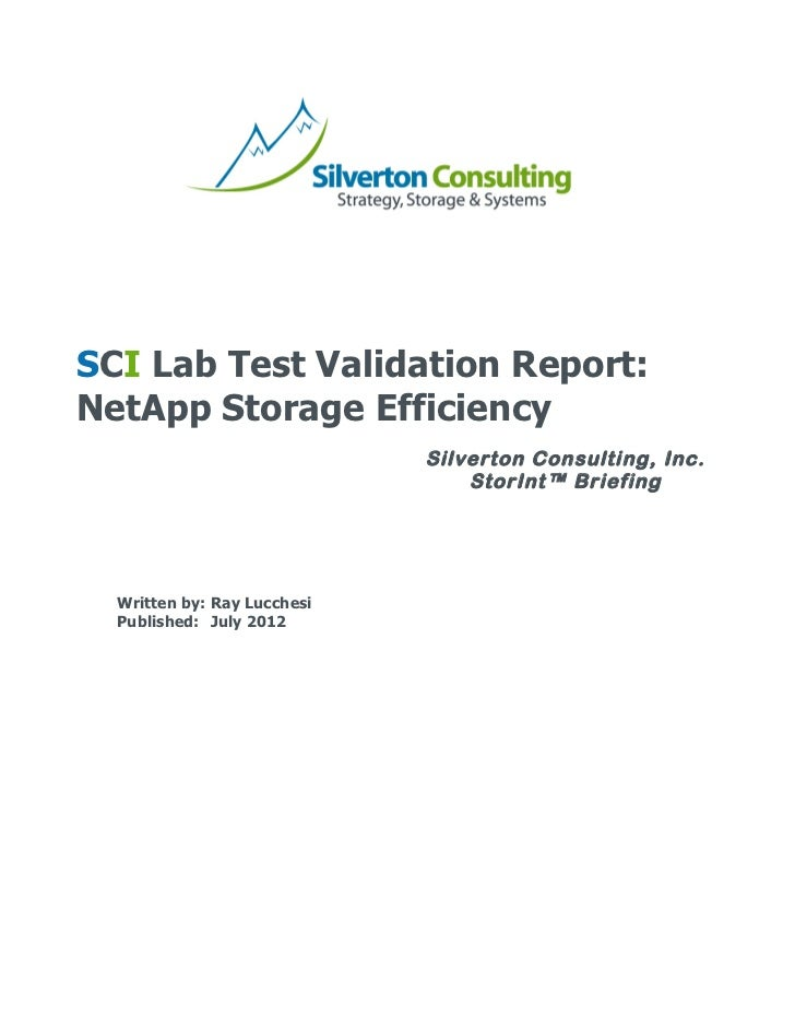 SCI Lab Test Validation Report: NetApp Storage Efficiency