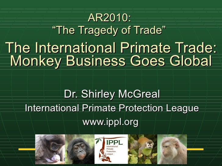 "AR2010:  ""The Tragedy of Trade""   The International Primate Trade: Monkey Business Goes Global Dr. Shirley McGreal Interna..."