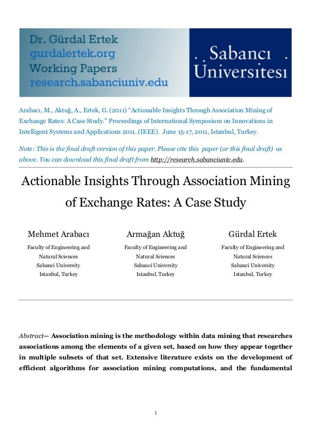 Actionable Insights Through Association Mining of Exchange Rates: A Case Study