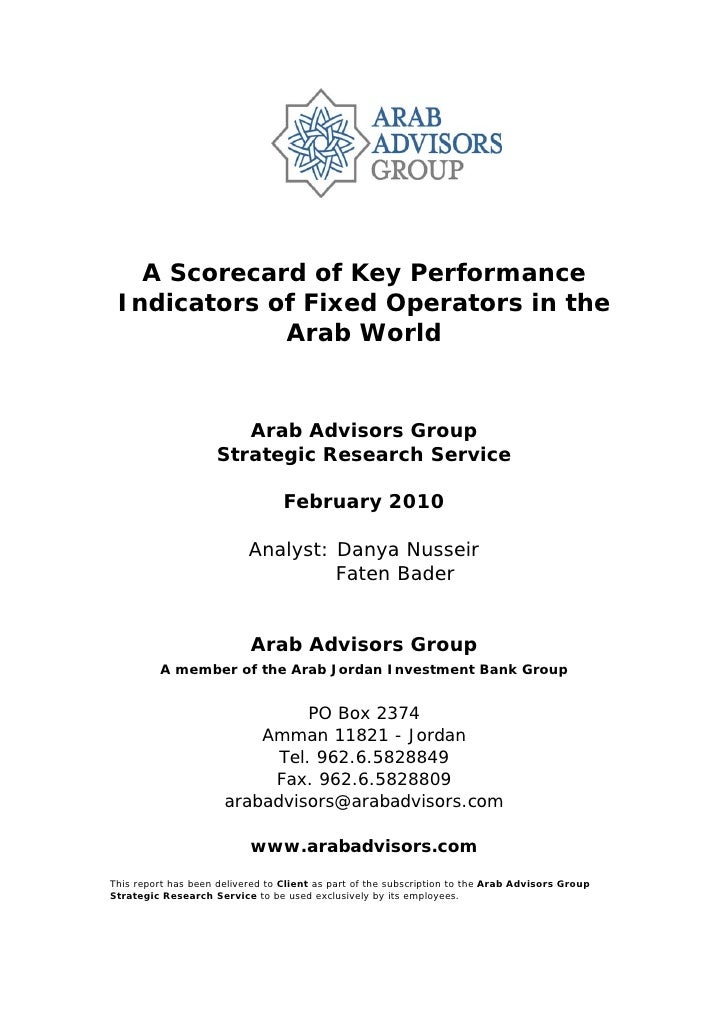 A Scorecard of Key Performance Indicators of Fixed Operators in the Arab World - Table of Contents