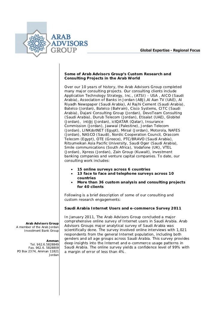 Arab advisors group consulting  january 2011