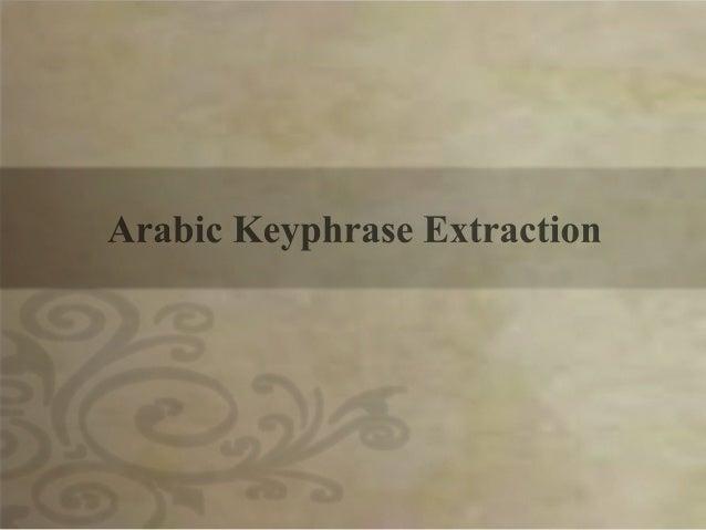 Arabic key phrase extraction
