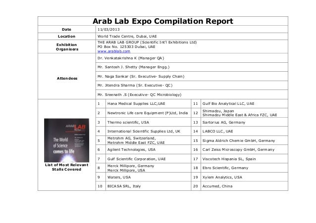 Arab Lab Expo Compilation ReportDate 11/03/2013Location World Trade Centre, Dubai, UAEExhibitionOrganisersTHE ARAB LAB GRO...