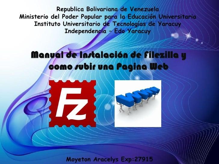 Republica Bolivariana de VenezuelaMinisterio del Poder Popular para la Educación Universitaria     Instituto Universitario...