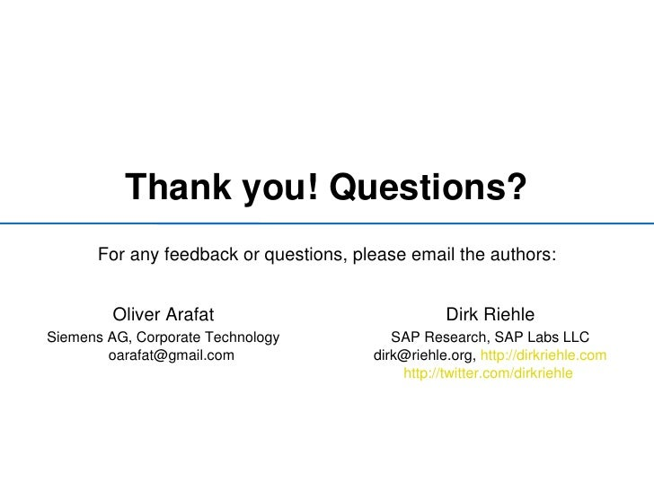Software Feedback Questions For Any Feedback or Questions