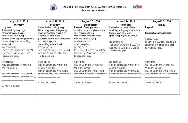 araling panlipunan lesson plan semi detailed