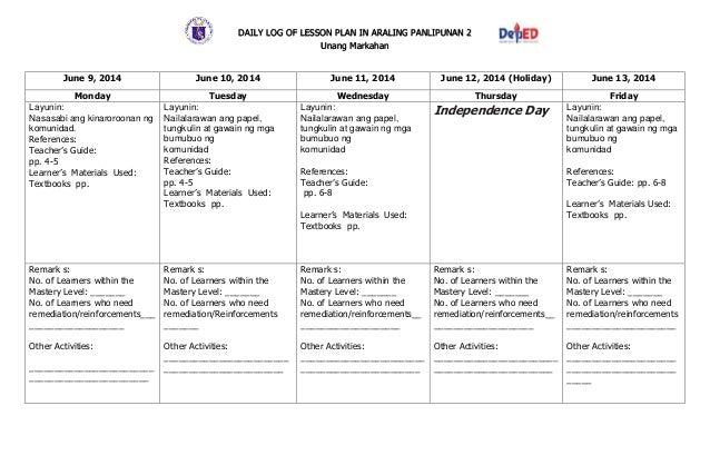 Daily Lesson Log In Araling Panlipunan  Blank Calendars