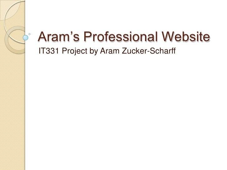Aram's Professional Website<br />IT331 Project by Aram Zucker-Scharff<br />