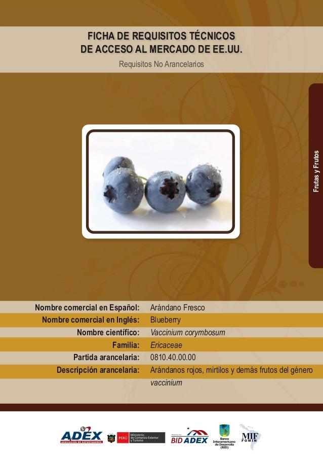 Arándano Fresco Blueberry Vaccinium corymbosum Ericaceae 0810.40.00.00 Arándanos rojos, mirtilos y demás frutos del género...