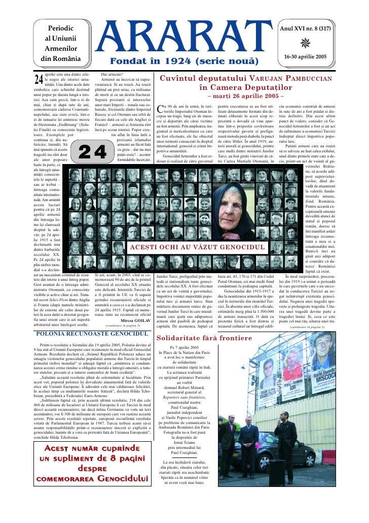 Periodic     al Uniunii     Armenilor    din România                                          ARARAT    Fondat în 1924 (se...