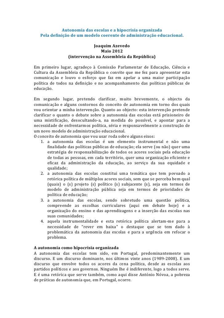 Ar autonomia das escolas(1)