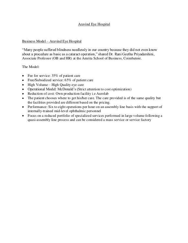 aravind eye hospital case study