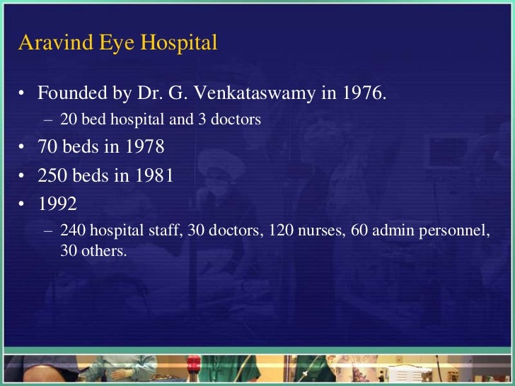 aravind eye hospital case study analysis Cataract was the main cause for 75% to 80% of the cases 40% in private sector for a feecase study analysis the aravind eye hospital – in service for sight scenario: in 1992 the maximum in asia with around 20 million people 8000 ophthalmologists performed 1.