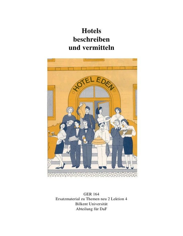 Hotels        beschreiben       und vermitteln                GER 164Ersatzmaterial zu Themen neu 2 Lektion 4           Bi...