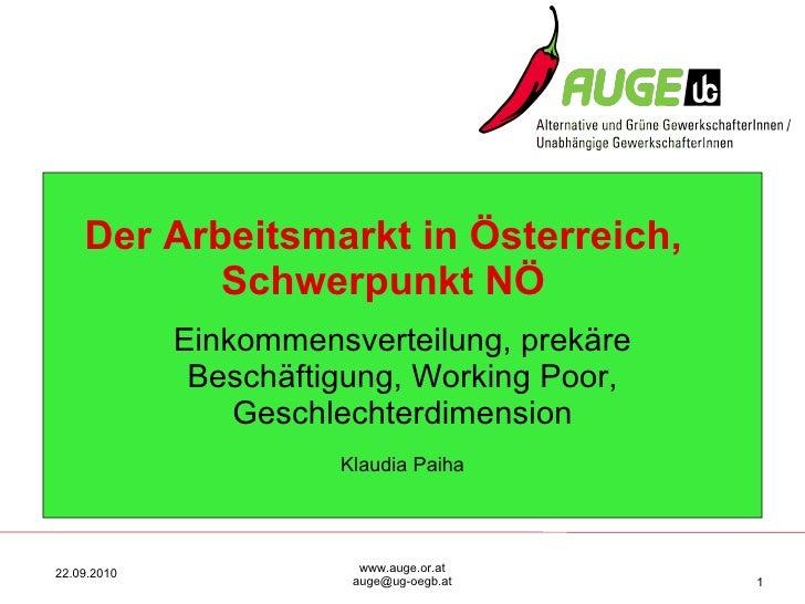 Arbeitsmarkt in oe 2010_odp