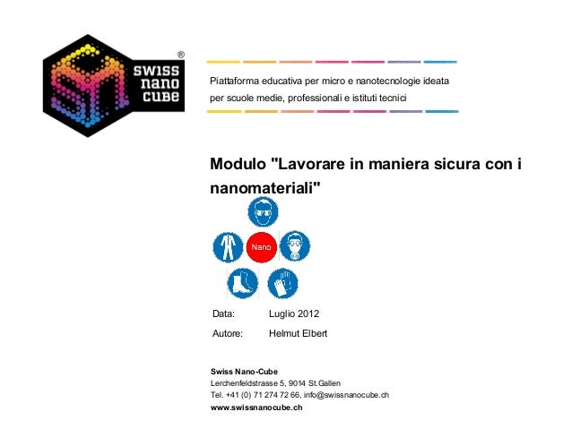 """Piattaforma educativa per micro e nanotecnologie ideataper scuole medie, professionali e istituti tecniciModulo """"Lavorare ..."""
